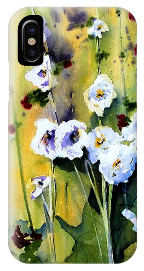 Hollyhock IPhone X Case featuring the painting Hollyhocks by Marti Green