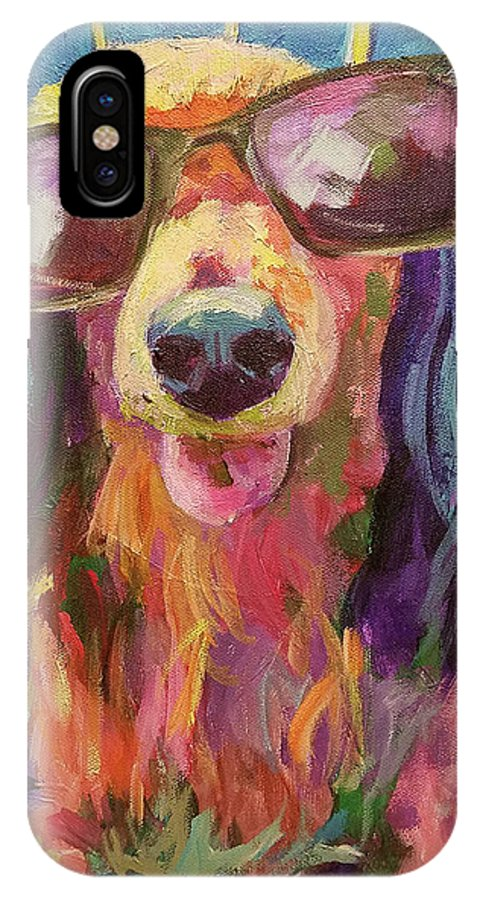 Hollywood Star IPhone X Case featuring the painting Hollywood Star by Sandy Lindblad