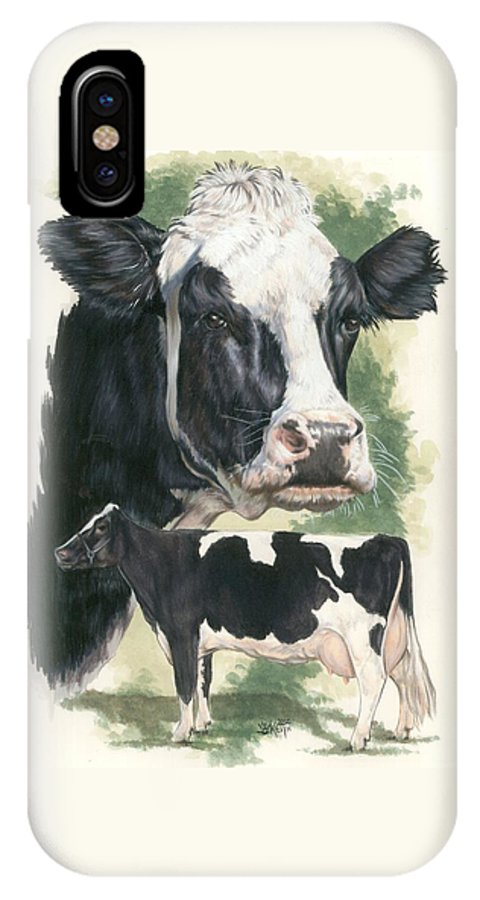 Cow IPhone X Case featuring the mixed media Holstein by Barbara Keith