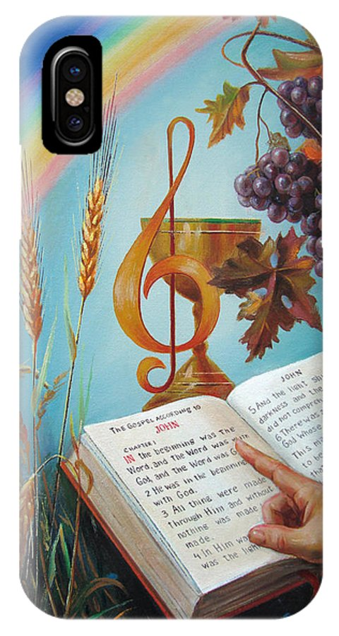 Holy IPhone X Case featuring the painting Holy Bible - The Gospel According To John by Svitozar Nenyuk