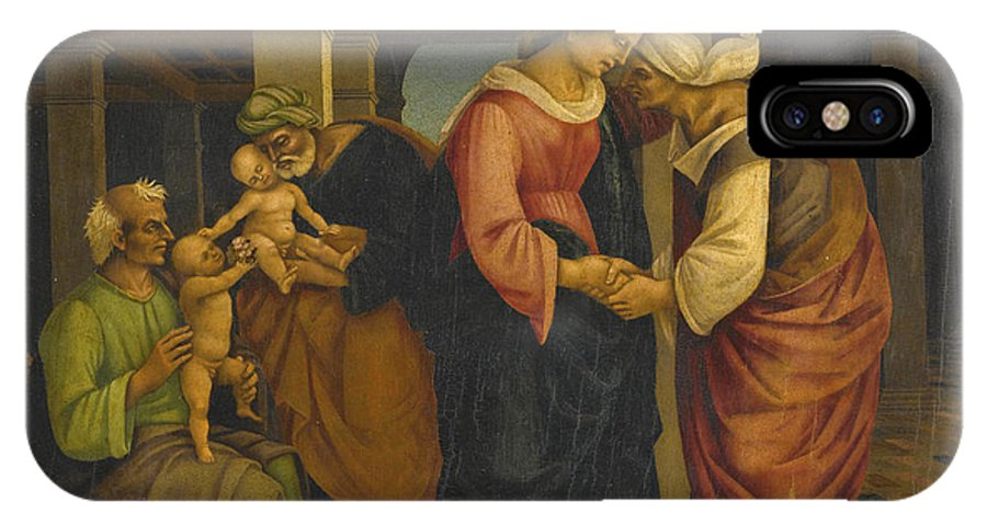 Francesco Signorelli IPhone X Case featuring the painting Holy Family With Saints John Elisabeth And Zacharias by Francesco Signorelli