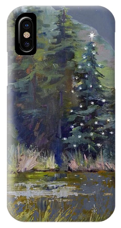 Christmas Card IPhone X Case featuring the painting Holy Night by Sharon Weaver
