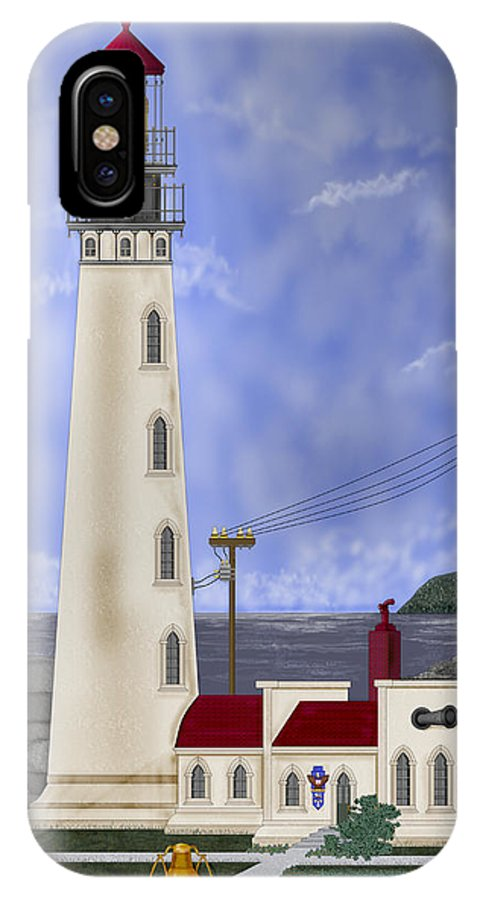 Lighthouse IPhone X Case featuring the painting Home Port by Anne Norskog