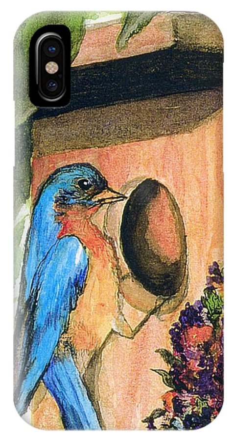 Bluebirds IPhone Case featuring the painting Home Sweet Home by Gail Kirtz