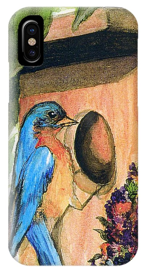 Bluebirds IPhone X Case featuring the painting Home Sweet Home by Gail Kirtz