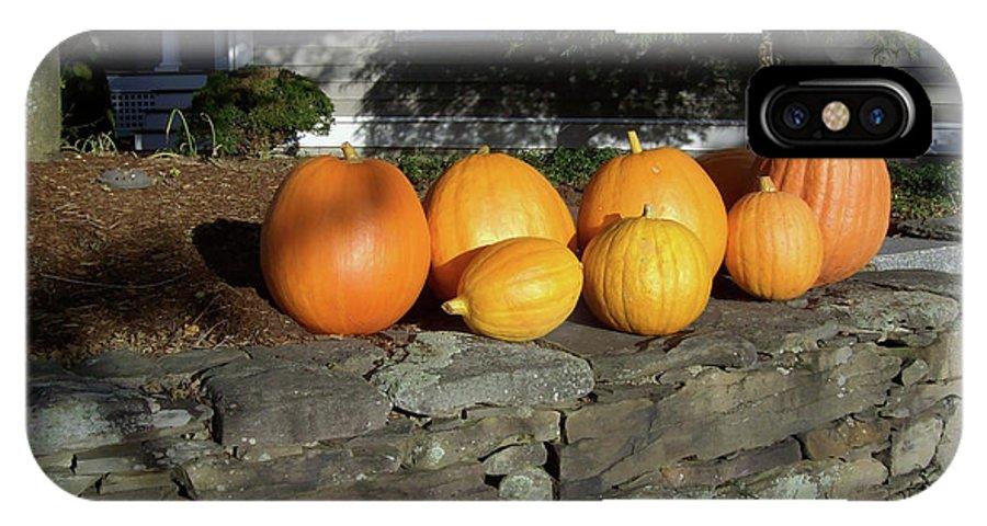 Pumpkins IPhone X Case featuring the photograph Homegrown Pumpkins by Mary Ann Weger