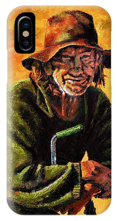 Homeless Man With Bike IPhone X Case featuring the painting Homeless by John Lautermilch