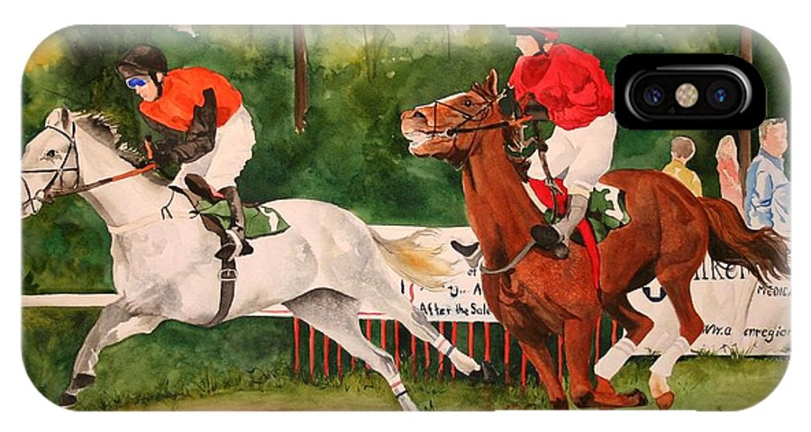 Racing IPhone X Case featuring the painting Homestretch by Jean Blackmer