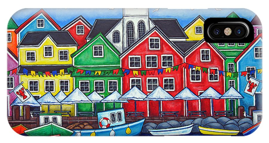 Boats Canada Colorful Docks Festival Fishing Flags Green Harbor Harbour IPhone Case featuring the painting Hometown Festival by Lisa Lorenz