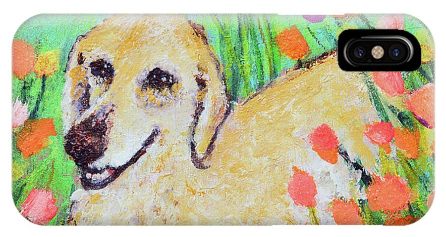 Pet Portrait IPhone X / XS Case featuring the painting Honey In The Flower Fields by Ashleigh Dyan Bayer