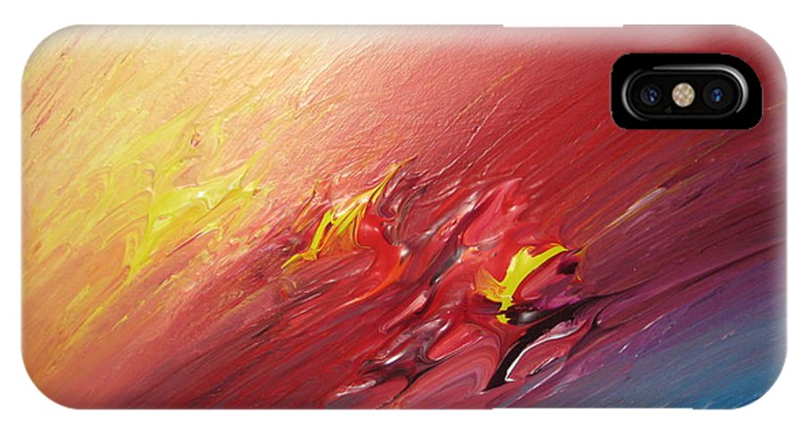 Abstract IPhone X / XS Case featuring the painting Honeymoon Bliss - A by Brenda Basham Dothage