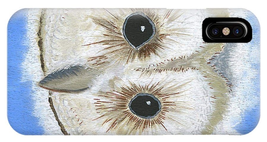 Baby Barn Owl IPhone X Case featuring the painting Hoo Me by Jaime Haney