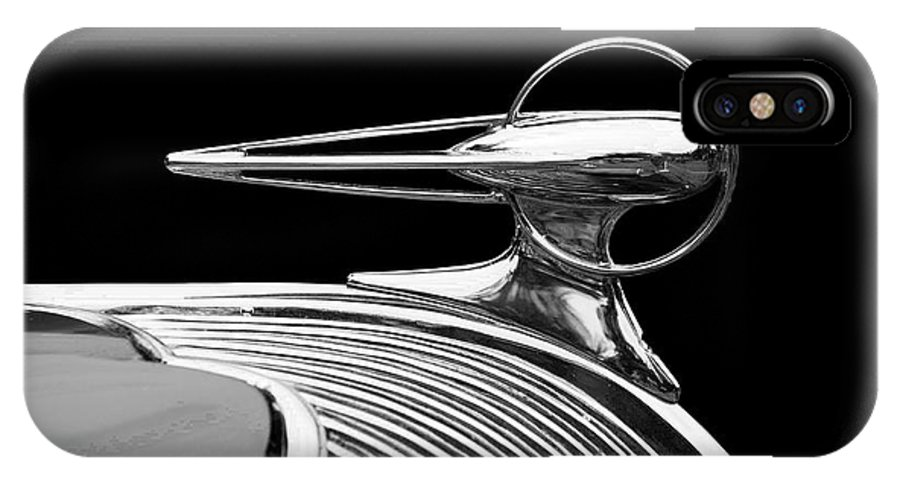Black And White IPhone X Case featuring the photograph Hood Ornament in black and white by David Bearden