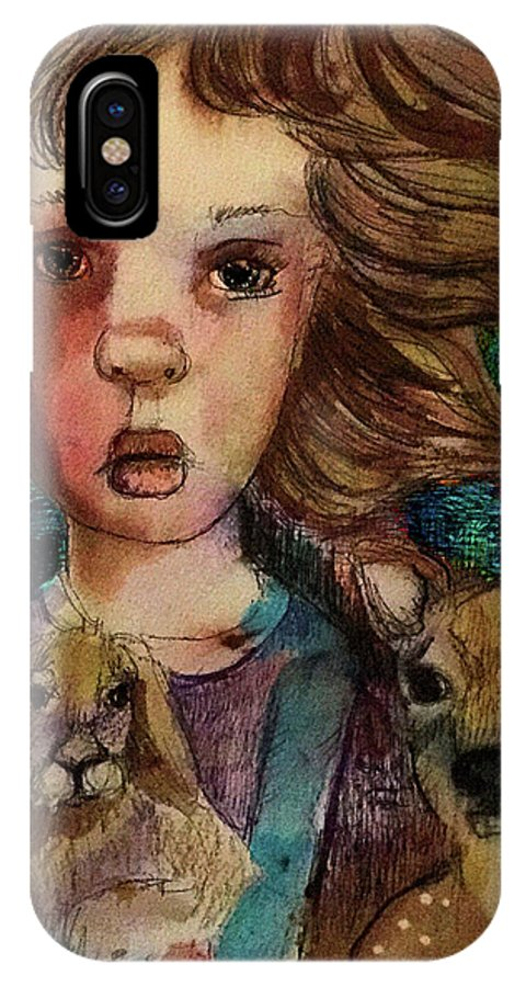 Deer IPhone X Case featuring the mixed media Hope Waned by Cynthia Richards