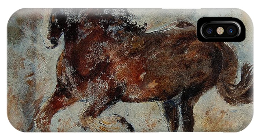 Animal IPhone X Case featuring the painting Horse 561 by Pol Ledent