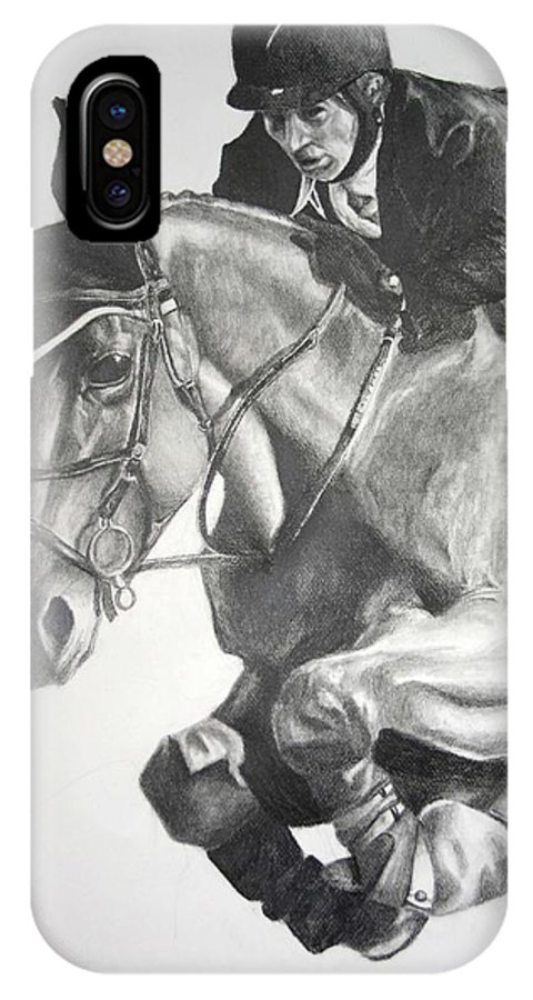 Horse IPhone X Case featuring the drawing Horse and Jockey by Darcie Duranceau