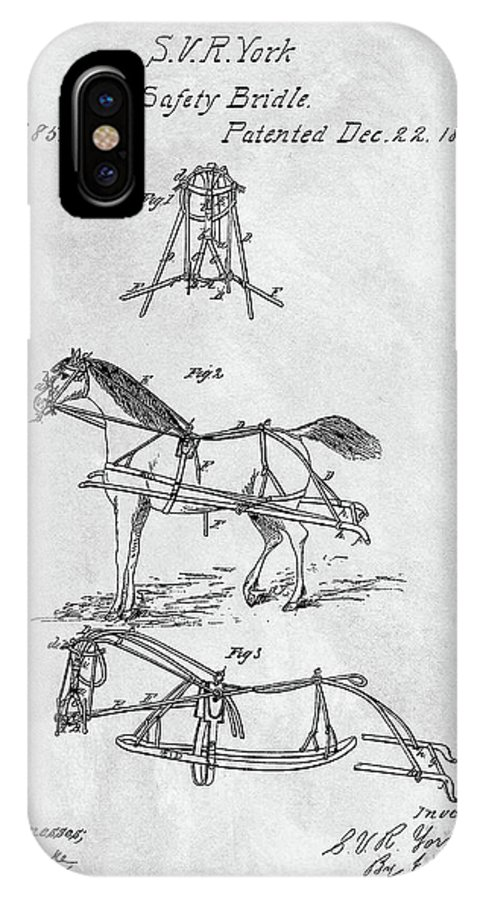 1868 Horse Bridle Patent IPhone X Case featuring the drawing Horse Bridle Patent by Dan Sproul