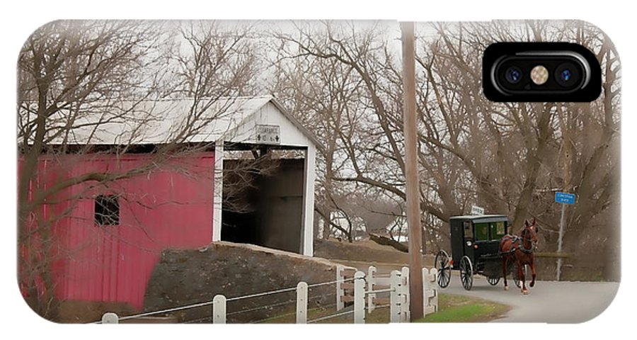 Bridge IPhone X Case featuring the photograph Horse Buggy And Covered Bridge by David Arment