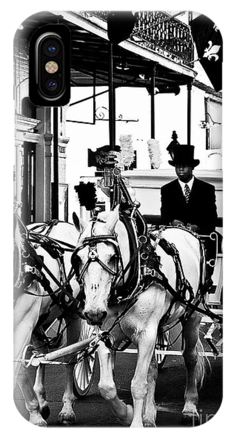 Horse IPhone X Case featuring the photograph Horse Drawn Funeral Carriage by Kathleen K Parker