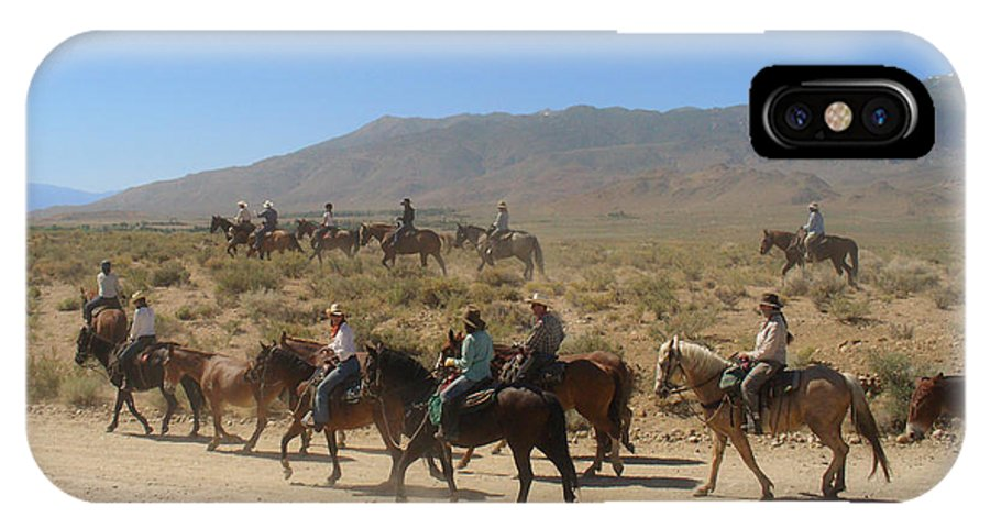 Horses IPhone X / XS Case featuring the photograph Horse Drive From June Lake To Bishop California by Christine Till