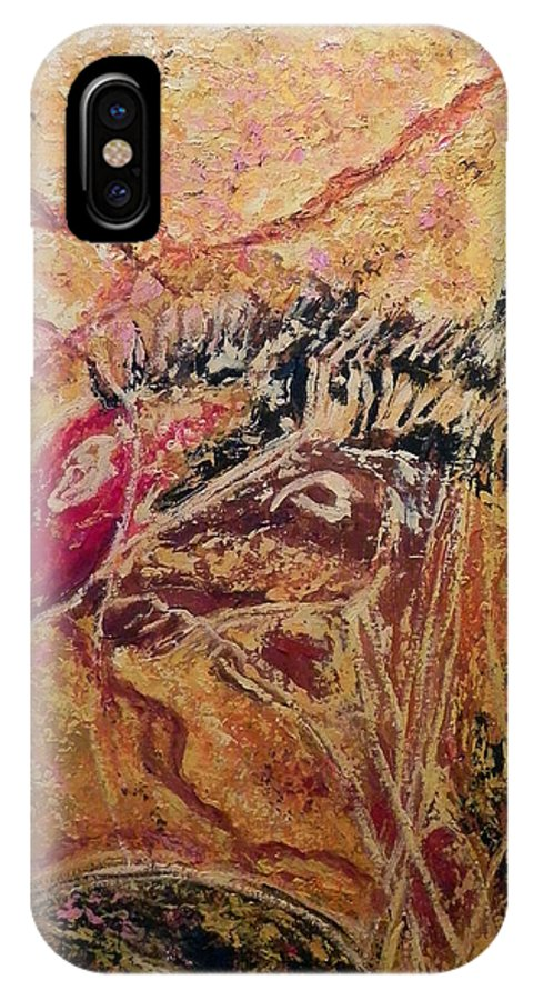 Cave Painting IPhone X Case featuring the painting Horse Heads by Ericka Herazo