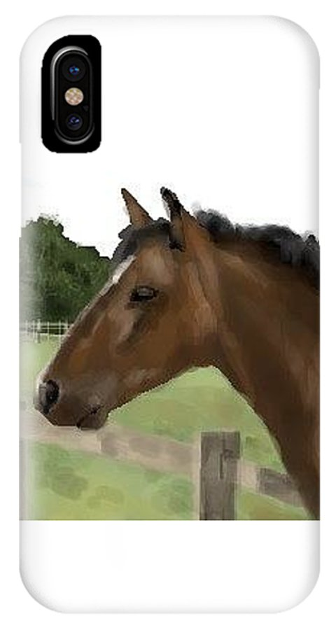 Horse IPhone X / XS Case featuring the digital art Horse In Field by Lori Wadleigh