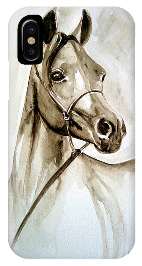 Portrait Of A Horse IPhone Case featuring the painting Horse by Leyla Munteanu