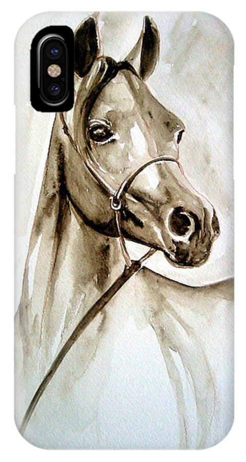 Portrait Of A Horse IPhone X Case featuring the painting Horse by Leyla Munteanu