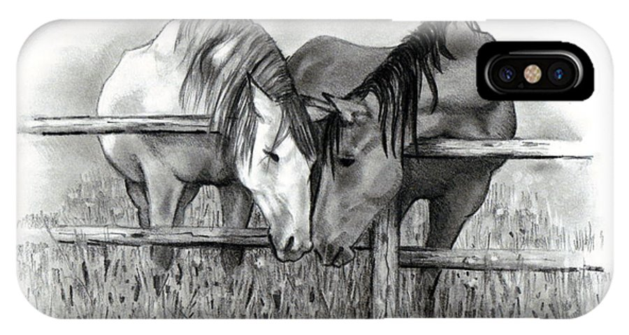 Horses IPhone X Case featuring the drawing Horse Lovers by Joyce Geleynse