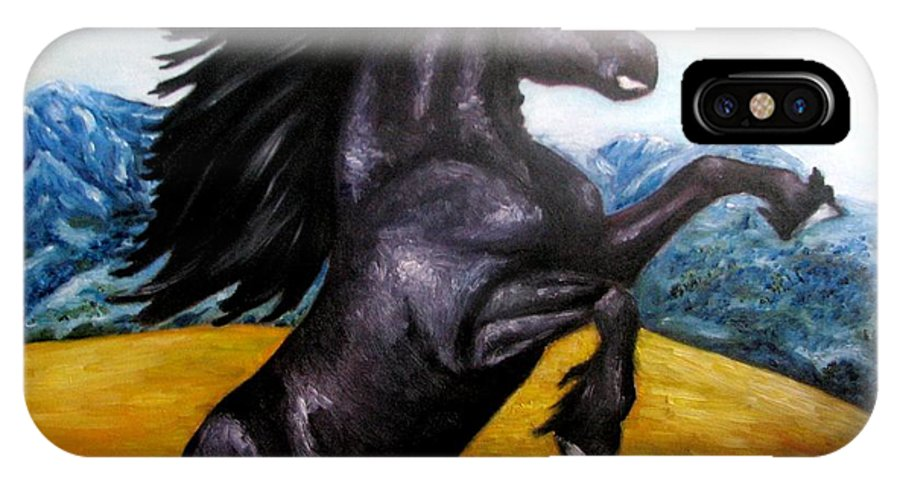 Horse IPhone X Case featuring the painting Horse Oil Painting by Natalja Picugina