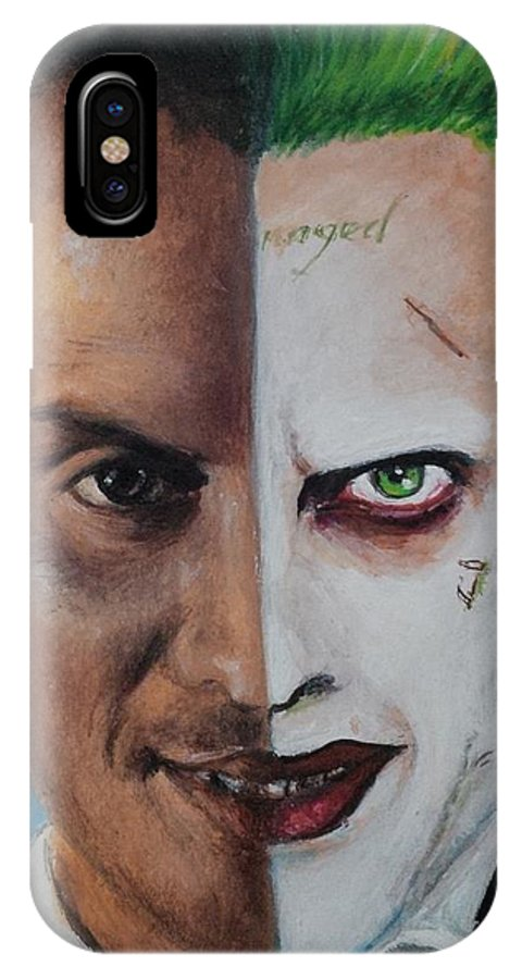 Aceo IPhone X Case featuring the painting Moriarty And The Joker by Lena Day