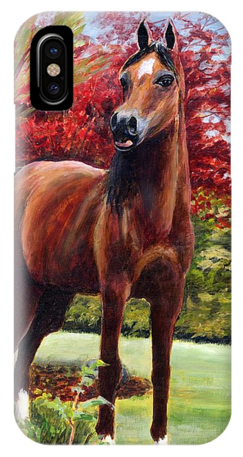 Horse IPhone X Case featuring the painting Horse Portrait by Eileen Fong