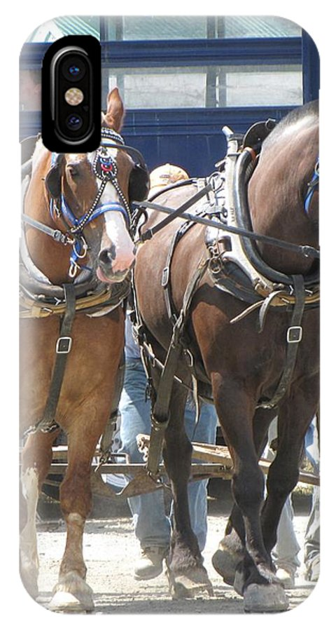 Horses IPhone X / XS Case featuring the photograph Horse Pull J by Melissa Parks