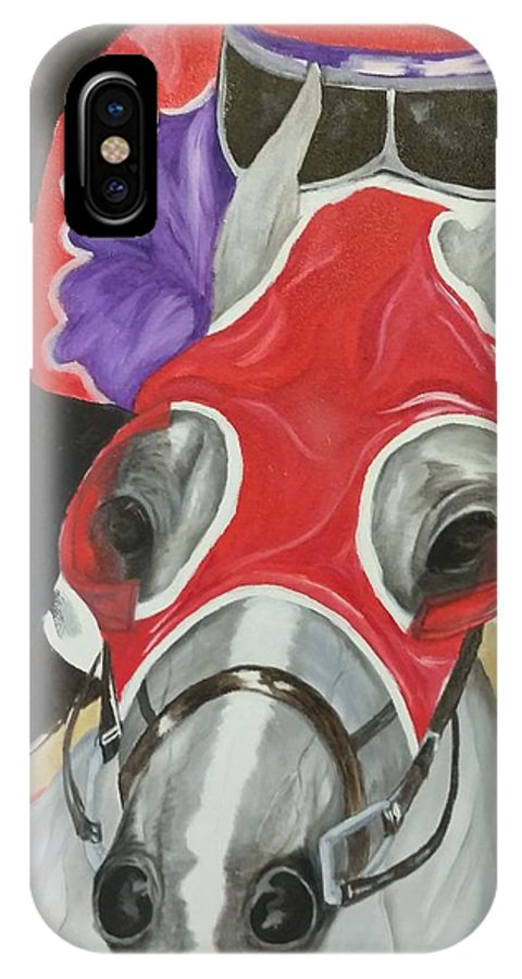Horseracing IPhone X Case featuring the painting Horse Racing by Sharon Pyeatt