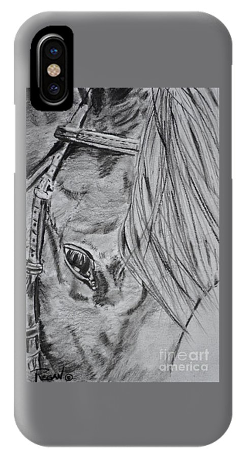 Horse Head IPhone X Case featuring the drawing Horse by Regan J Smith
