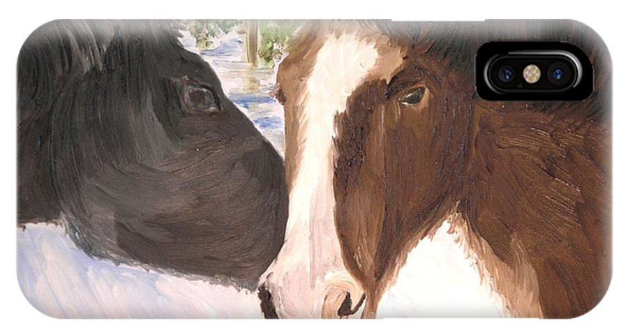 Horses IPhone X Case featuring the painting Horse Whisperer by Michael Lee