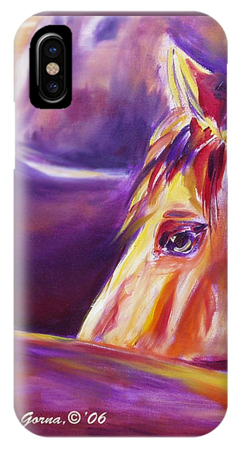 Horses IPhone Case featuring the painting Horse World Detail by Gina De Gorna