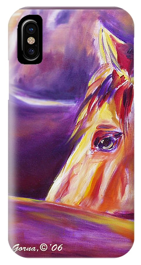 Horses IPhone X Case featuring the painting Horse World Detail by Gina De Gorna