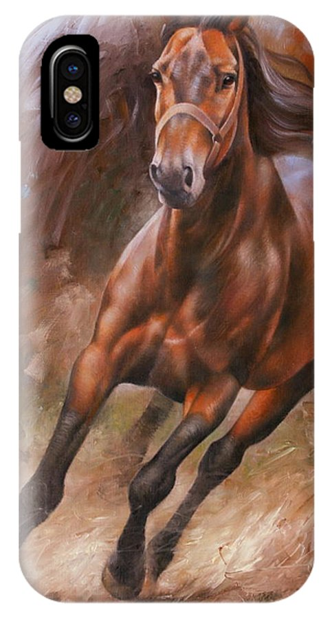 Art IPhone X Case featuring the painting Horse2 by Arthur Braginsky