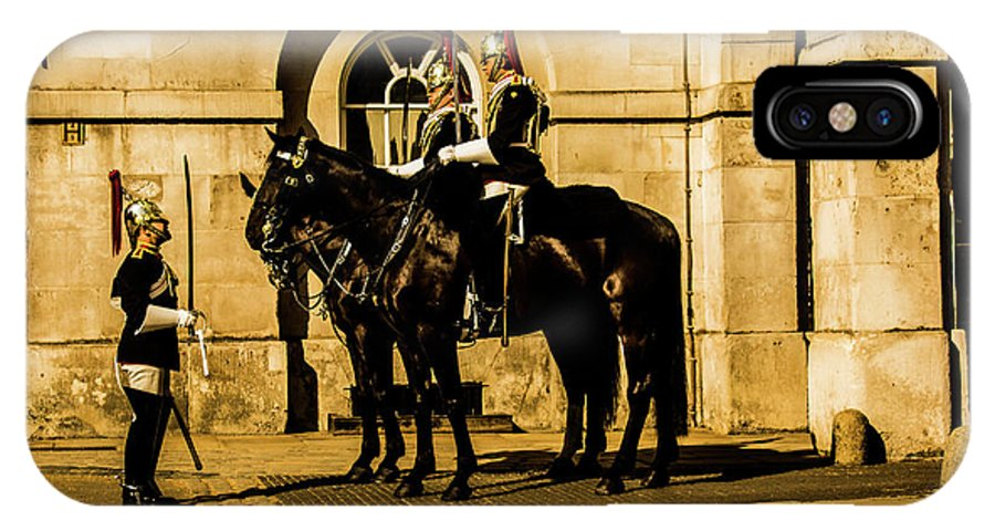 Horseguard IPhone X Case featuring the photograph Horseguards Inspection. by Nigel Dudson