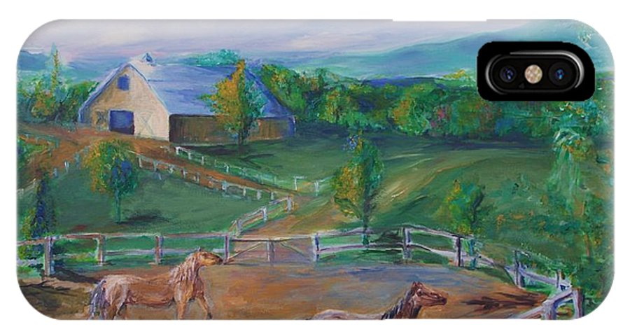 Animals IPhone X Case featuring the painting Horses At Gettysburg by Eric Schiabor