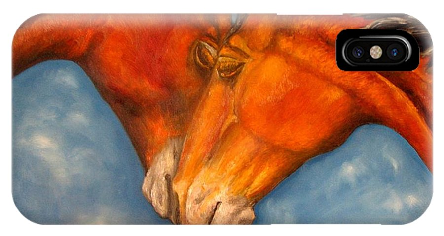 Horses IPhone Case featuring the painting Horses In Love.oil Painting by Natalja Picugina