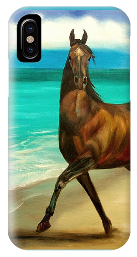 Horse IPhone X Case featuring the painting Horses In Paradise Dance by Gina De Gorna