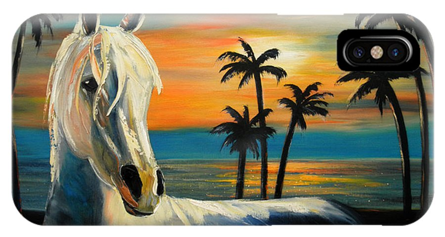 Horse IPhone Case featuring the painting Horses In Paradise Tell Me Your Dream by Gina De Gorna
