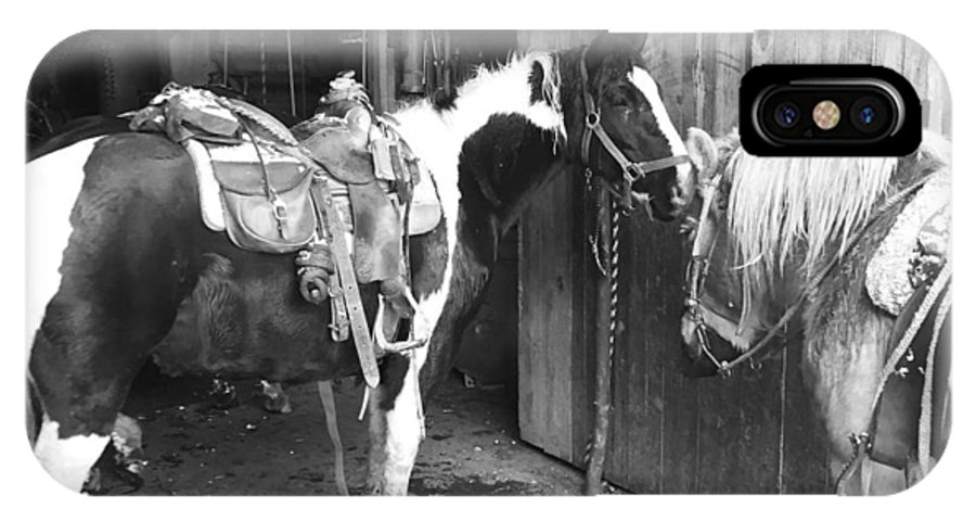 Horses IPhone X Case featuring the photograph Horses In The Barn by Christina McNee-Geiger