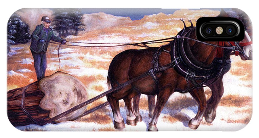 Horse IPhone Case featuring the painting Horses Pulling Log by Curtiss Shaffer