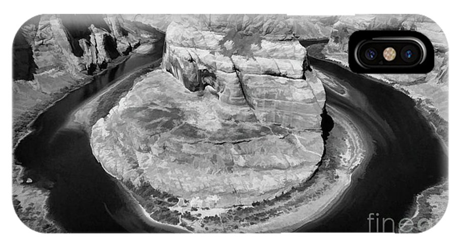 Horseshoe Bend IPhone X Case featuring the photograph Horseshoe Bend Black White by Chuck Kuhn