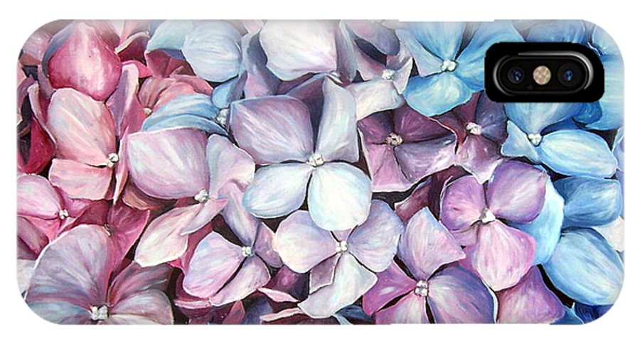 Flowers Nature Blue Violet Macro IPhone Case featuring the painting Hortensias by Natalia Tejera