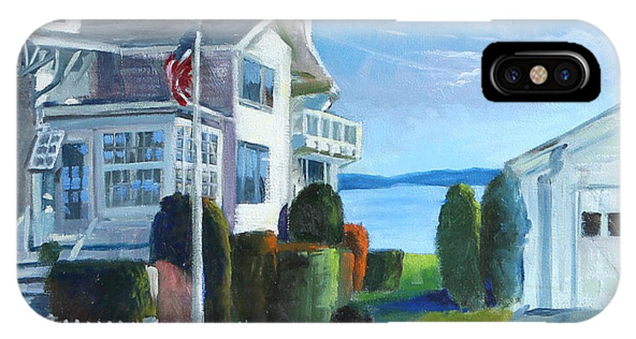 Light Houses IPhone X Case featuring the painting Hospital Point Light by Michael McDougall