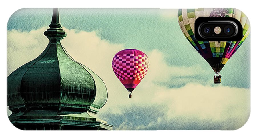 Hot Air Balloon IPhone X / XS Case featuring the photograph Hot Air Balloons Float Over Lewiston Maine by Bob Orsillo